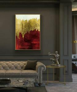"""YA1446 Decor art 36"""" 100% Hand-painted abstract gold foil oil painting Unframed"""