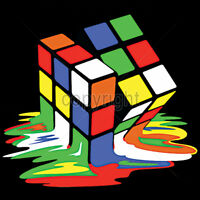 Melting Rubiks Cube 80's Pop Culture Humor Funny T-Shirt Tee