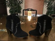 Joie Black Studded Leather Suede Western Style Ankle Boot Sz 38