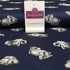 "Classic Vintage Car Vehicles Poplin Printed Poplin Fabric 44"" wide MK893 Mtex"