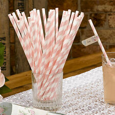 25 PAPER DRINKING STRAWS White Pink Candy Stripe Vintage WITH LOVE RANGE Wedding