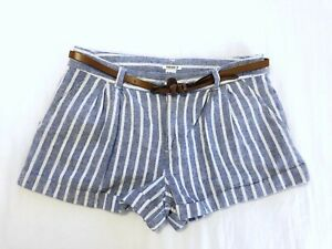Forever 21 Striped Chambray Belted Shorts Size 26