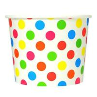 Rainbow Ice Cream Paper Cups - 12 oz Polka Dot Disposable Birthday Party Cups