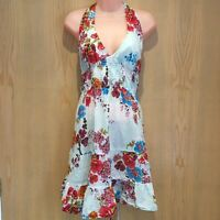 Jane Norman Women's Mini Dress Size 14 Multicoloured Floral Halter Neck Sequins