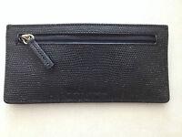Cole Haan Black Card Case Leather Wallet 6 Credit Card + ID Holder Zip Pocket ne