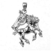 Sterling Silver Baby Horse & Mother 3D Solid Pendant/Charm, Made USA, Box Chain