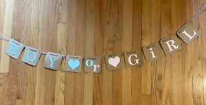 GENDER REVEAL~ BABY SHOWER~ PARTY BANNER Girl Or Boy BABY GARLAND Pink Blue