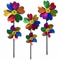Double Layer Windmill Pinwheel Wind Spinner Kids Toys Lawn Garden Decor Plastic