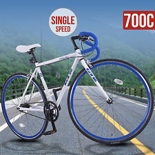 Aluminum Frame 700C Road Bike Racing Bicycle Single Speed Fixed Gear White Blue