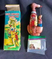 Mama Kangaroo With Playful Baby Vintage Tin Wind Up Toy Japan Joey Mechanical