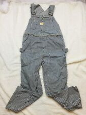 Vintage Penney's Pay Day Square Back Denim Carpenter Overalls Striped 60's Worn