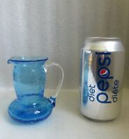 VINTAGE BLUE CRACKLE GLASS JUG PITCHER EWER MOUTH BLOWN Applied Clear HANDLE!