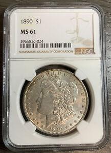 1890 $1 Morgan Silver Dollar - NGC MS61