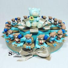 TORTA BOMBONIERA  NASCITA BATTESIMO orsetti palloncino confetti celesti azzurri