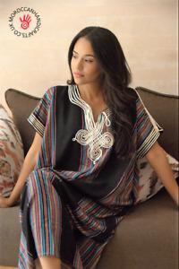 Handmade  Moroccan black kaftan with multi coloured stripes