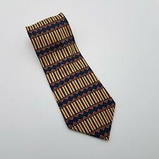 Bill Blass Tie Black Label 100% Silk Navy Tan Red Striped Geometric Pattern