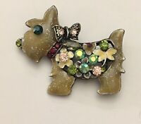 Vintage Scotty dog  with Flowers & dragonfly Brooch enamel on metal