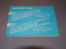 Honda OEM Hondaline Owners Instructions Manual Type II Moto Audio System