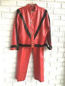 Michael Jackson Thriller Jacket Sz M & Pant 33 Red Men's Jerry Beck Charades Set
