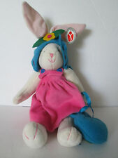 White Easter Bunny Stuffed Animal Dressed Up by Delton Products 18
