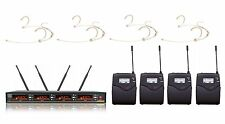 UHF 4x 100 Channels Wireless Beige Headset Vocal Microphone System