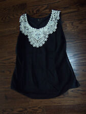 Fashion Classic stretch black top with bling embellishments and lace collar L Lg
