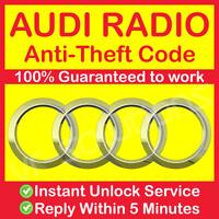 AUDI RADIO CODE Concert Chorus Symphony A6 A4 A7 A3 A8 TT Q7 A1 A2 CD A5 MMI