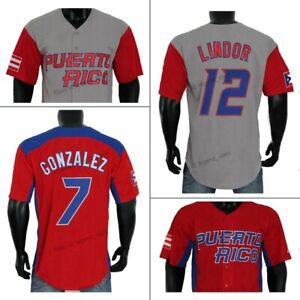 Puerto Rico Baseball Jersey Lindo Correa Javier Baez Molina Rodriguez Cora Sewn