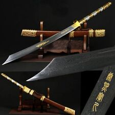 "42.9""High Quality Chinese Sword Broadsword ""战刀""""Pattern Steel Sharp Battle Ready"