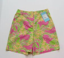 Lilly Pulitzer Womens Vintage Size 4 Golf Swing Shorts Hibiscus Line Drive New