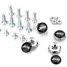 4pcs Fit JEEP Skull Logo Metal Car License Plate Frame Screw Bolt Cap Cover Nuts