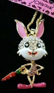 Enamel Crystal Lively Pink Radish Rabbit Betsey Johnson  Pendant Chain Necklace