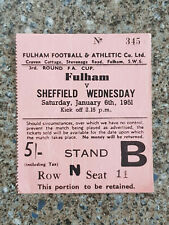 More details for 1951 - fulham v sheffield weds ticket - fa cup 3rd round - 50/51