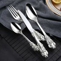 4PCS Silver Flatware Cutlery Dinner Sets Tableware Silverware Fork Spoon Knife