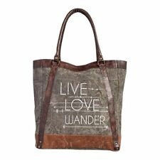 "Mona B LIVE LOVE WANDER Recycled Canvas & Leather Tote Bag 14x16"" Lined Snap Top"