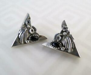 Vintage Native American Solid 925 Sterling Silver Black Onyx Classic Collar Tips