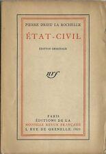 RARE EO N° HORS COMMERCE PUR FIL 1921 + PIERRE DRIEU LA ROCHELLE : ÉTAT-CIVIL