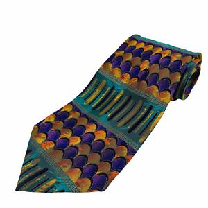Vintage Enrico Carlucci Mens 100% Silk Neck Tie Hand Made Italy Abstract Scales