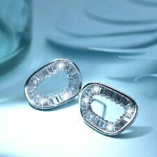18K WHITE GOLD GP SILVER STUD CRYSTAL IRREGULAR 3D O CIRCLE FASHION EARRINGS