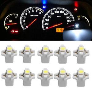 10pc T5 B8.3D 5050 1SMD Car LED Dashboard Dash Gauge Instrument Light Bulb White