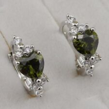 Cute Hot Peridot Green Heart Gems Jewelry Gold Filled Huggie Lady Earrings h2853