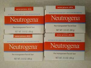 4- Neutrogena Soap Transparent Facial Bar Acne-Prone Skin Formula 3.5 oz (Lot 4)