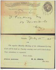 CANADA, Postcard 1893 1c black  rosette below 1s, message on back, fine (D)