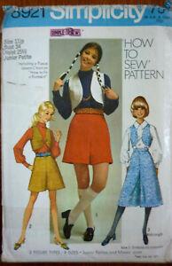 VINTAGE 70'S~SIMPLICITY 8921 SEWING PATTERN~MISSES PANTSKIRT & VEST~SZ11jp~ B 34