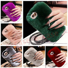 Ring bing Rabbit Fur Furry Rotat Stand Crystal Soft Back Phone Case Cover &Strap