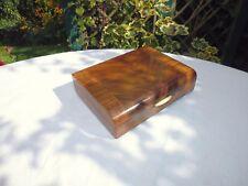 ART DECO 1930'S CROSS BANDED WALNUT CIGAR/TRINKET BOX WITH BAKELITE HANDLE