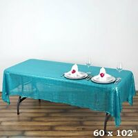 Turquoise Sequin Tablecloth 60 by 102, Shiny Tablecloth For Wedding Decoration