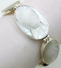 Natural Mother of Pearl Shell 925 Sterling Silver Bracelet Women Jewelry SG020
