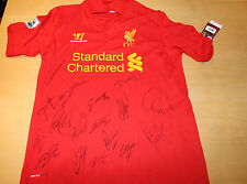 LIVERPOOL TEAM HAND SIGNED HOME JERSEY UNFRAMED + PHOTO PROOF & C.O.A