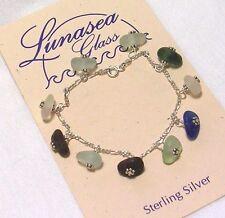 LUNASEA TREASURES SEA GLASS AQUA GREEN WHITE AMBER BLUE STERLING SILVER BRACELET